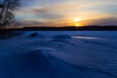 Spricka i isen Arkivfoto