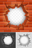 Spricka i tegelstenvägg. royaltyfri illustrationer
