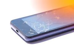 Spricka på skärmen som knäckas på skärmen och ljus - apelsin royaltyfri foto