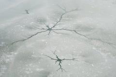 Sprickais och insnöad vinter Royaltyfri Bild