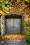 Spricker den underjordiska ingången ut för den gamla stängda grungy ståldörren som utomhus täckas med färgrik höst royaltyfri fotografi