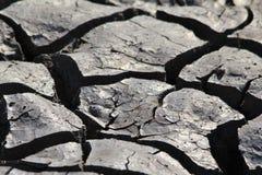Sprickor i lera - naturbakgrund - förtorkad land och torka Royaltyfri Fotografi