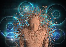 Spridd kvinna 3d över futuristisk bakgrund Royaltyfri Bild