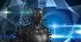 Spridd människa 3d över abstrakt bakgrund Royaltyfri Foto