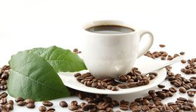 Spridda kaffebönor med koppar kaffe och bladet Arkivbilder
