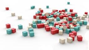 Spridda kuber i 3D Arkivbild
