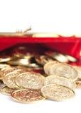 Spridda silver- och guldmynt royaltyfria bilder