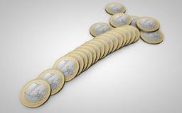Spridning av mynt 1 euro Fotografering för Bildbyråer