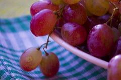 Sprig конца-вверх виноградин на плите на зеленой салфетке стоковые изображения