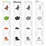 Sprig of allspice, mint grass, spicy paprika, nutmeg. Grass and spice set collection icons in cartoon black monochrome. Outline style vector symbol stock Stock Images