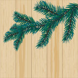 Sprig of blue spruce on a background of wood illustration. Sprig of blue spruce on a background of wood.  illustration Stock Image