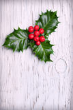 Sprig of christmas holly with red berries. On vintage wooden background Stock Image