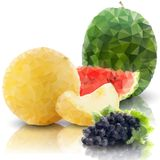 Sprig of grapes, melon and watermelon isolated, Royalty Free Stock Photos