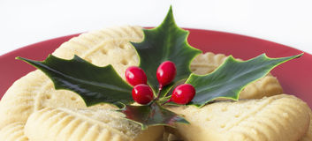 Sprig of Holly on Shortbread. Stock Image
