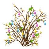 Sprig kolorów żółtych kwiaty dekorujący z faborkami ilustracja wektor