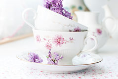 Sprig of lilac in a cup Stock Photos