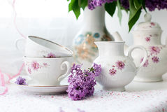 Sprig of lilac in a cup Stock Photography