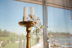 Sprig of orchid on a wooden candlesticks Royalty Free Stock Photography