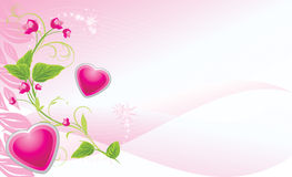 Sprig with pink flowers and hearts Stock Image