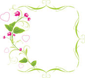 Sprig with pink flowers and hearts. Frame Royalty Free Stock Photos