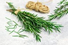 Sprigs свежего органического розмаринового масла связанного со строкой на серой предпосылке Пряные травы Приправы и специи стоковое изображение rf