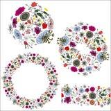 Sprigs щетки картины будочек и зацветая цветков 1 стоковая фотография rf