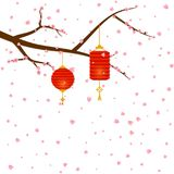 Sprigs of cherry tree flowers sakura fall and Chinese New Year lanterns in paper cut art style round and cylinder shape. Asian decoration for Mid-Autumn stock illustration