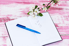Sprigs of flowering apple-tree with a notebook. The sprigs of flowering apple-tree with a notebook and pen Royalty Free Stock Photo