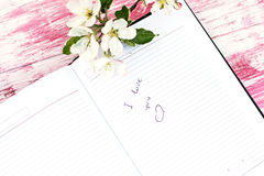 The sprigs of flowering apple-tree. With a notebook. Writing in a notebook, I love you Stock Images