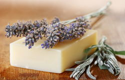 Sprigs of lavender on a piece of soap. Stock Image