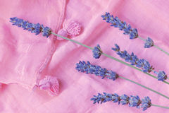 Sprigs of lavender are on a pink scarf Stock Photo