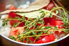 Sprigs oregano w gorącym warzywo pomidory, pieprze, Obrazy Royalty Free
