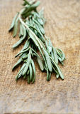 Sprigs of rosemary on a wooden board closeup vertical low angle Royalty Free Stock Photo