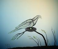 Spriing ptak, Easter jajka pojęcie, gołębi ptasi spojrzenie jak gałąź z zielonymi liśćmi, ilustracja wektor
