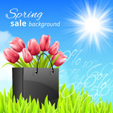 Sprin sale background with tulips Stock Photography