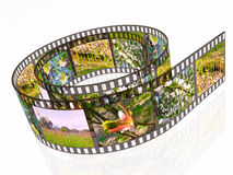 Spring. 3d film roll with colour pictures (spring Royalty Free Stock Photos