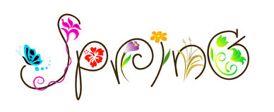 Spring. An illustration of the word spring with flowers