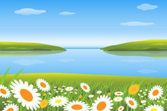 Spring. Vector illustration of a spring landscape with a blossom meadow and a river.EPS file available Stock Photo
