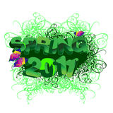 Spring 2011 3D Text, Grass And Butterfly. Royalty Free Stock Image