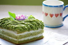 Spring. Flower afternoon cake spring cup royalty free stock image