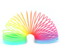 Spring. Rainbow spiral spring - 3d render Stock Image