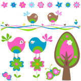 Spring. Birds in love; spring elements set Royalty Free Stock Photo