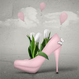 Spring. Illustrat with pink shoe and tulips