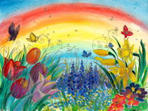 Spring. Background with colorful flowers:tulips,narcissus,grape hyacinth and rainbow in background.Picture I have created with watercolors Royalty Free Stock Photos