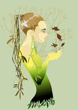 Spring. Girl holding a singing birds Vector Illustration