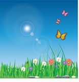 Spring. Vector illustration of spring with colorful flowers Stock Photography