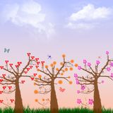Spring. Illustration with trees blossoms and insects Royalty Free Stock Photo