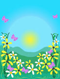 Spring. Illustration,flowers and butterflies over blue background Stock Image
