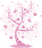 Spring. Tree with butterfly and pink hearts Royalty Free Stock Image