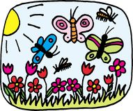 Spring. Flowers and butterflies on meadow in spring. illustration Stock Photography